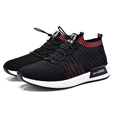 Ανδρικά Παπούτσια άνεσης Φουσκωτό πηνίο Άνοιξη Καθημερινό Αθλητικά Παπούτσια Περπάτημα Αναπνέει Μαύρο / Μαύρο / Κόκκινο