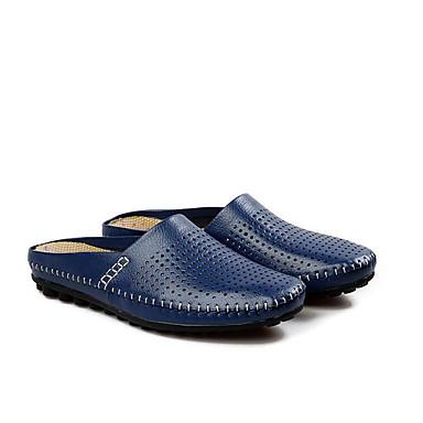 Homme Chaussures de confort Cuir Eté Chaussons & Tongs Noir Noir Noir / Bleu de minuit / Jaune a2a46a