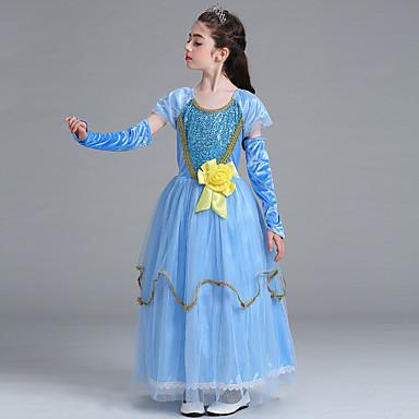 Elsa Cosplay Nošnje Dječji Djevojčice Haljine Božić Halloween Karneval Festival / Praznik Til Pamuk Plava Karneval kostime Princeza