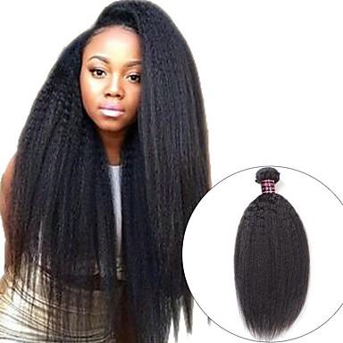 3 paketa Mongolska kosa Yaki Straight Ljudska kosa Netretirana  ljudske kose Headpiece Ljudske kose plete Styling kose 8-28 inch Prirodna boja Isprepliće ljudske kose Kreativan Najbolja kvaliteta