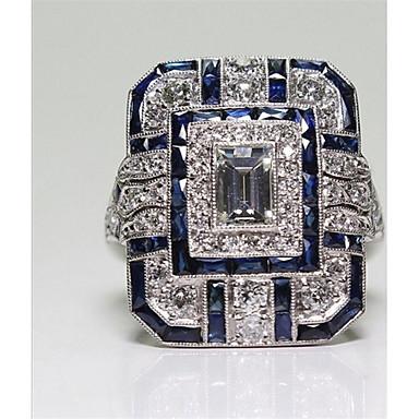 abordables Bague-Femme Bague / Anneaux Zircon 1pc Bleu Cuivre dames / Mode Quotidien / Soirée Bijoux de fantaisie
