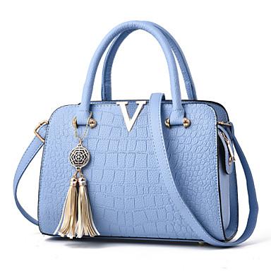 ieftine Genți-Pentru femei Fermoar / Franjuri Mușama Geantă cu Mâner Culoare solidă Gri / Mov / Albastru celest