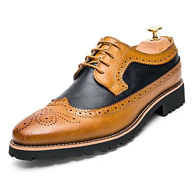 בגדי ריקוד גברים נעליים פורמליות עור אביב קיץ / סתיו חורף יום יומי / בריטי נעלי אוקספורד נושם צהוב / חום