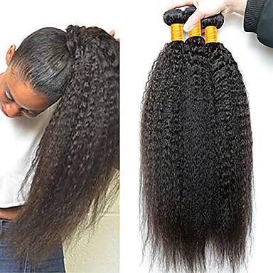 baratos Extensões de Cabelo Natural-3 pacotes Cabelo Brasileiro Yaki Liso Cabelo Virgem 100% Remy Hair Weave Bundles Peça para Cabeça Cabelo Humano Ondulado Extensor 8-28 inch Côr Natural Tramas de cabelo humano Fantasias Ajustável