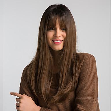 povoljno Perike i ekstenzije-Sintetičke perike Prirodno ravno Stil Stražnji dio Capless Perika Black / Brown Sintentička kosa 22 inch Žene Modni dizajn sintetički Novi Dolazak Smeđa Perika Dug MAYSU / Prirodna linija za kosu