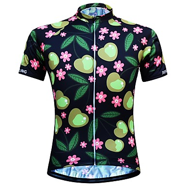 JESOCYCLING Women s Short Sleeve Cycling Jersey - Black Floral   Botanical Bike  Jersey Top Quick Dry b0caf8be2