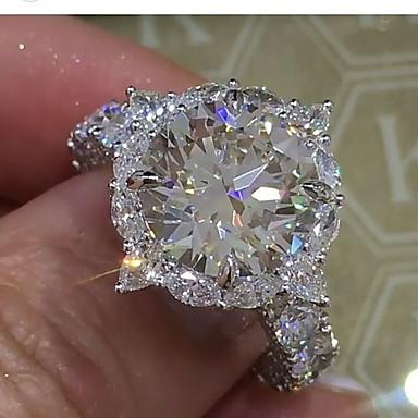billige Ringer i sterlingsølv-Dame Ring Diamant / Kubisk Zirkonium / liten diamant 1pc Hvit Kobber Geometrisk Form Luksus / Unikt design / Iced Out Bryllup / Fest / Gave Kostyme smykker