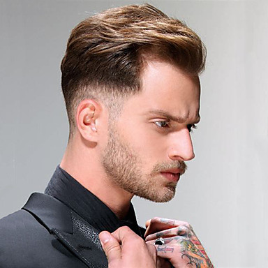 cheap Toupees-Men's Human Hair Toupees Straight 100% Hand Tied Soft / Light Brown