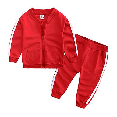 billige Sett med Drenge babyklær-Baby Drenge Afslappet / Basale Daglig / Sport Ensfarvet Langærmet Normal Normal Bomuld Tøjsæt Lyserød