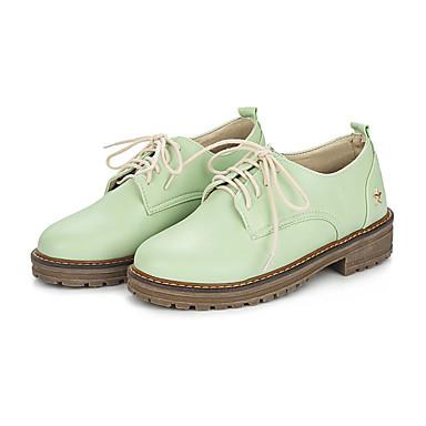 Compiacente Per Donna Pu (poliuretano) Autunno Inverno Oxfords Heel Di Blocco Punta Tonda Beige - Verde - Rosa #07090893