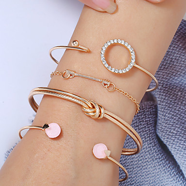 abordables Bracelet-4pcs Bracelet Parure Bracelet Femme Multirang Strass Arrow Nœud simple Européen Mode Bracelet Bijoux Dorée Argent Forme de Cercle pour Soirée Quotidien