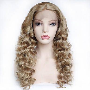 Synteettiset pitsireunan peruukit Kihara Tyyli Keskiosa Liimattoman / Lace Front Peruukki Vaaleahiuksisuus Mansikkablondi Synteettiset hiukset 22-26 inch Naisten Pehmeä / Heat Resistant / Naisten