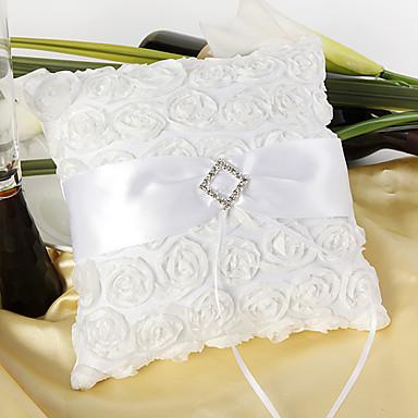abordables Coussins Porte-Alliances-Comme Soie Satin Diamant acrylique / Fleur en Satin Satin Oreiller d'anneau Mariage Toutes les Saisons