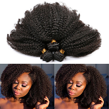 baratos Extensões de Cabelo Natural-3 pacotes Cabelo Brasileiro Afro Kinky Cabelo Natural Remy Extensões de Cabelo Natural 10-28 polegada Natural Tramas de cabelo humano Melhor qualidade Nova chegada Venda imperdível Extensões de