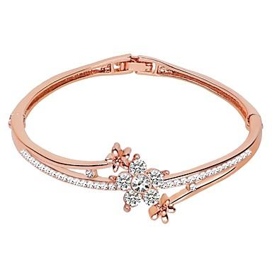 baratos Bangle-Mulheres Bracelete Clássico Simples Liga Pulseira de jóias Prata / Ouro Rose / Champanhe Para Aniversário Diário Formal