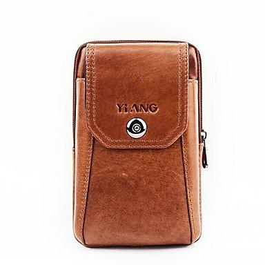 abordables Sacs-Homme Cuir de Vachette Mobile Bag Phone Couleur unie Marron