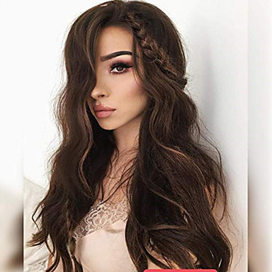 cheap Human Hair Wigs-Remy Human Hair Full Lace Lace Front Wig Asymmetrical style Brazilian Hair Straight Deep Curly Dark Brown Light Brown Wig 130% 150% 180% Density Soft Adorable Hot Sale Comfortable Natural Hairline