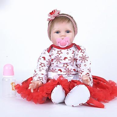 FeelWind Muñecas reborn Muñeca chica Bebés Niñas 22 pulgada Silicona Vinilo - natural Hecho a Mano Bonito Niños / Adolescentes No tóxico Kid de Unisex Juguet Regalo