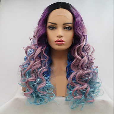 Pruik Lace Front Synthetisch Haar Dames Watergolf Zwart Gelaagd kapsel 130% Human Hair Density Synthetisch haar 24 inch(es) Dames / Kleurgradatie Zwart / Paars Pruik Lang Kanten Voorkant Regenboog