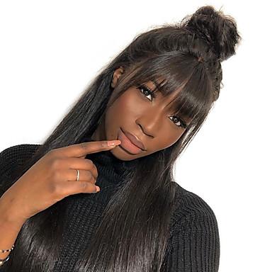 Mensen Remy Haar Niet verwerkt Menselijk Haar 360 Frontale Pruik Braziliaans haar BodyGolf Pruik 180% Haardichtheid Natuurlijke haarlijn Afro-Amerikaanse pruik Voor donkere huidskleur Met Bangs Met