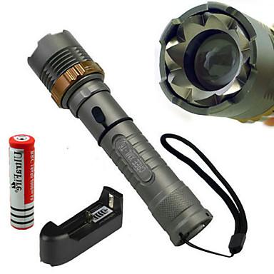 abordables Lampes & Lanternes de Camping-5 Lampes Torches LED 1200 lm LED LED 1 Émetteurs 5 Mode d'Eclairage Tactique Imperméable Résistant aux impacts Camping / Randonnée / Spéléologie Usage quotidien Cyclisme / Alliage d'Aluminium