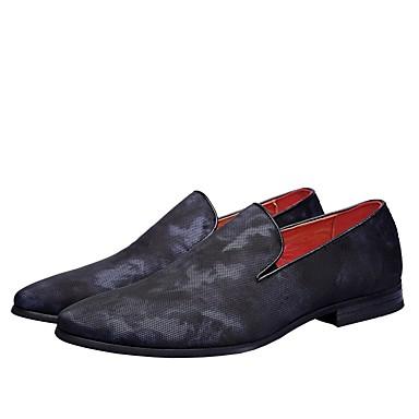 สำหรับผู้ชาย รองเท้าสบาย ๆ กางเกงยีนส์ ฤดูใบไม้ผลิ รองเท้าส้นเตี้ยทำมาจากหนังและรองเท้าสวมแบบไม่มีเชือก แดง / ฟ้า