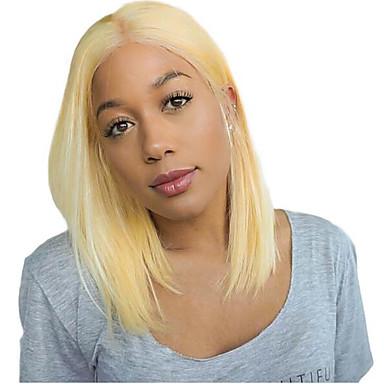 Onbehandeld haar Kanten Voorkant Pruik Bobkapsel EMMA stijl Braziliaans haar Recht Blond Pruik 150% Haardichtheid met babyhaar Hittebestendig Cool onverwerkte met clip Blond Dames Gemiddelde Lengte
