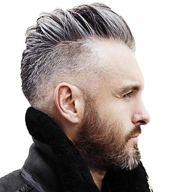 povoljno Perike i ekstenzije-Muškarci Ljudska kosa Tupe Ravan kroj 100% rađeno rukom Nježno / Tamno siva