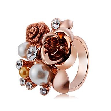 Χαμηλού Κόστους Μοδάτο Δαχτυλίδι-Γυναικεία Λευκό Cubic Zirconia Ρετρό Δακτύλιος Δήλωσης Δαχτυλίδι Απομίμηση Μαργαριταριού Με Επίστρωση Ροζ Χρυσού Προσομειωμένο διαμάντι Flower Shape Μοναδικό Υπερβολή Υπερμεγέθη Μοδάτο Δαχτυλίδι