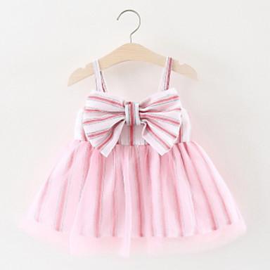 お買い得  赤ちゃんウェア-赤ちゃん 女の子 活発的 ストライプ ノースリーブ ポリエステル ドレス ピンク
