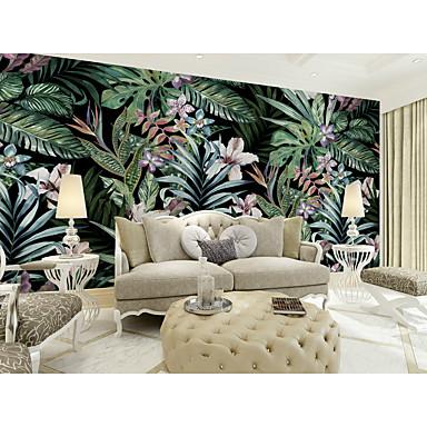 billige Tapet-bakgrunns / Veggmaleri Lerret Tapetsering - selvklebende nødvendig Blomstret / Trær / Blader / Art Deco