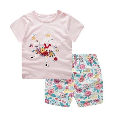 Bebis Pojkar Grundläggande Dagligen Blå   Vit Jacquard Kortärmad Kort Kort  Bomull Klädesset Rodnande Rosa 9cd9e6fddd44d