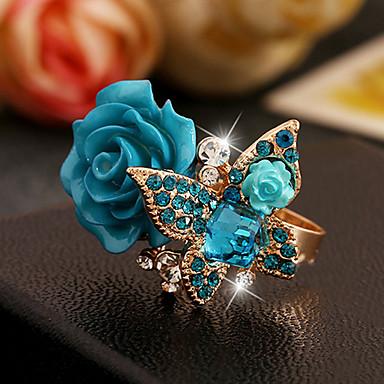 abordables Bague-Anneau réglable Femme Sculpture Résine Imitation Diamant Alliage Victorien Bagues Tendance Bijoux Noir Vert Bleu Cool pour Mariage Casual Vacances 1pc