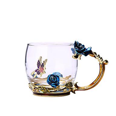 halpa Keittiö ja ruokailu-sininen ruusu emali kristalli kuppi kukka teetä lasi vettä muki käsikirja lahja rakastaja häät