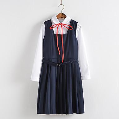 Schüler / Schuluniform Erwachsene Weiterführende Schule Damen Mädchen Cosplay Kostüme Für Leistung Baumwolle Solide Hemd Kleid Weihnachten Halloween Karneval