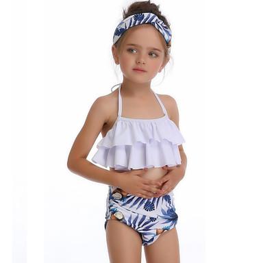 baratos Roupas de Banho para Meninas-Infantil Bébé Para Meninas Básico Estilo bonito Esportes Praia Geométrica Franjas Sem Manga Roupa de Banho Branco