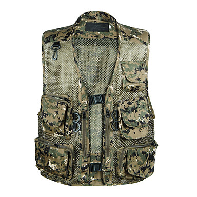 Men's Camo Hiking Vest Outdoor Spring, Fall, Winter, Summer Lightweight Quick Dry Breathability Wearable Jacket Top Single Slider Hunting Hiking Climbing Green / Forest Green / Dark Green