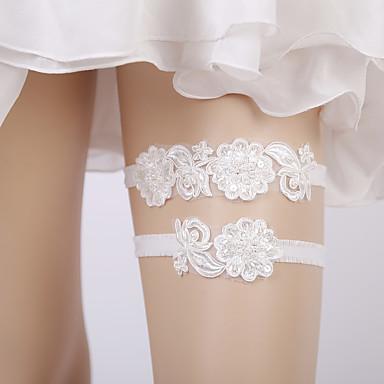 ลูกไม้ ใหม่ / เกี่ยวกับเจ้าสาว Wedding Garter กับ เข็มกลัด / มุก / ปักเลื่อม สายรัด งานแต่งงาน / ปาร์ตี้