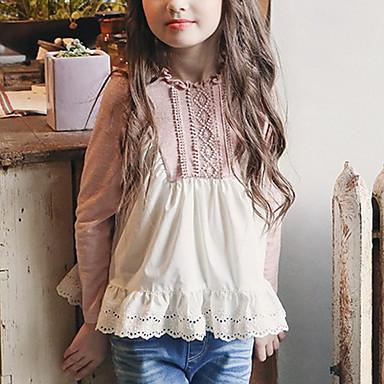 hesapli Kız Çocuk Üstleri-Çocuklar Genç Kız Actif Zıt Renkli Uzun Kollu Gömlek Doğal Pembe