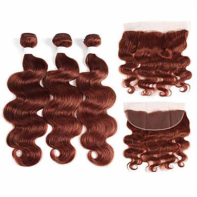 baratos Extensões de Cabelo Natural-3 pacotes com fechamento Cabelo Brasileiro Onda de Corpo Cabelo Natural Remy Extensões de Cabelo Natural Trama do cabelo com Encerramento 10-26 polegada Tramas de cabelo humano Macio Melhor qualidade