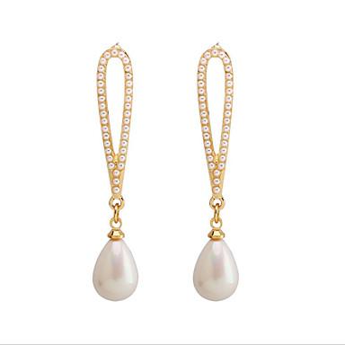 Γυναικεία Κρίκοι Μαργαριτάρι S925 Sterling Silver Σκουλαρίκια Κοσμήματα Χρυσαφί Για Γάμου Καθημερινά 1 Pair