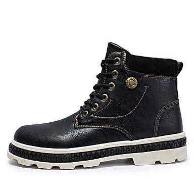 Homens Sapatos Confortáveis Couro Ecológico Outono & inverno Botas Botas Cano Médio Preto / Marron / Cinzento