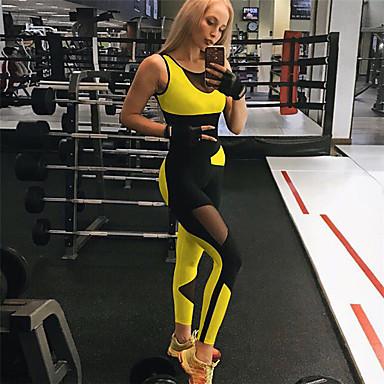 Kadın's Kırk Yama Yoga kıyafeti Sarı / Siyah Spor Dalları Zıt Renkli Yüksek Bel Bodysuit Yoga Fitness Egzersiz yapmak Aktif Giyim Streç İnce