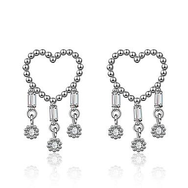 044e9d117 Women's Clear Cubic Zirconia Tassel Stud Earrings Drop Earrings S925 Sterling  Silver Earrings Heart Korean Sweet
