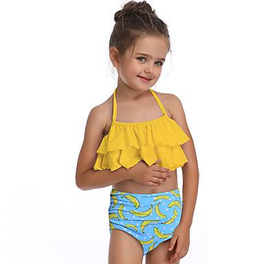baratos Roupas de Banho para Meninas-Infantil Bébé Para Meninas Básico Estilo bonito Esportes Praia Poá Frufru Sem Manga Roupa de Banho Amarelo