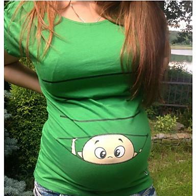 billige Mammaklær-Mammaklær T-skjorte Dame - Tegneserie, Trykt mønster Brun