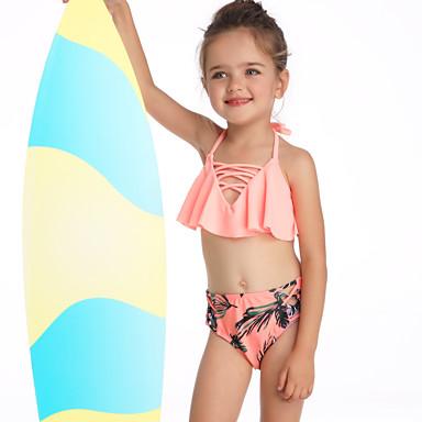 baratos Roupas de Banho para Meninas-Infantil Bébé Para Meninas Básico Estilo bonito Esportes Praia Floral Com Corte Frufru Sem Manga Roupa de Banho Laranja