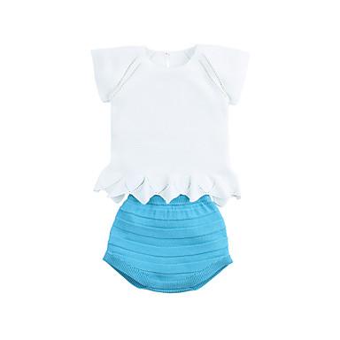 56adae98e Bebé Chica Activo Diario Azul y Blanco Un Color / Jacquard Retazos Manga  Corta Corto Corto Conjunto de Ropa Blanco
