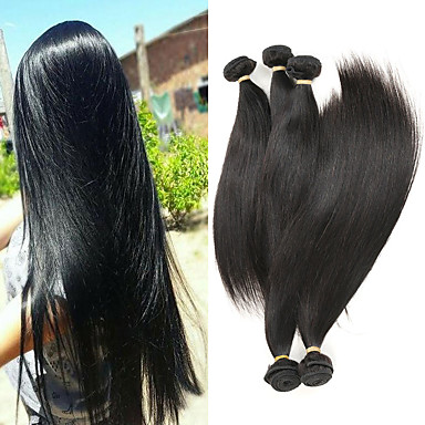 Lot de 5 Cheveux Brésiliens Droit Cheveux Naturel Rémy Extensions Naturelles 8-26 pouce Tissages de cheveux humains Doux Meilleure qualité Nouvelle arrivee Extensions de cheveux Naturel humains Femme
