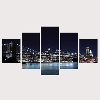 hesapli Tablolar-Boyama Haddelenmiş Kanvas Tablolar Gerdirilmiş Tuval Resimleri - Manzaralı Mimari Çağdaş Modern Beş Panelli Sanatsal Baskılar